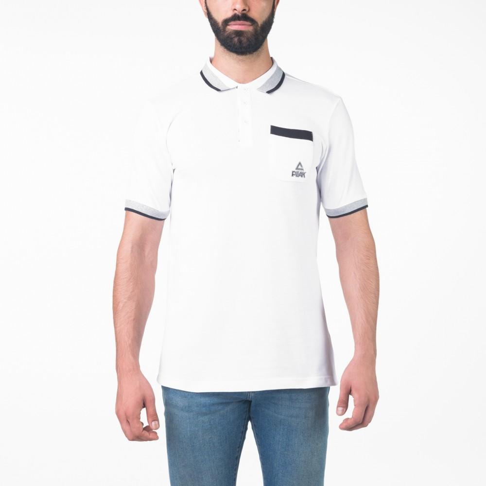 Polo peak sports tunisie en blanc noir lifestyle homme