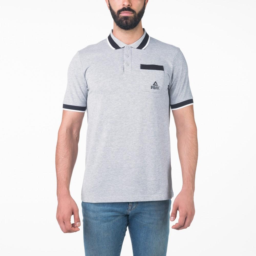 Polo peak sports tunisie en gris noir lifestyle homme