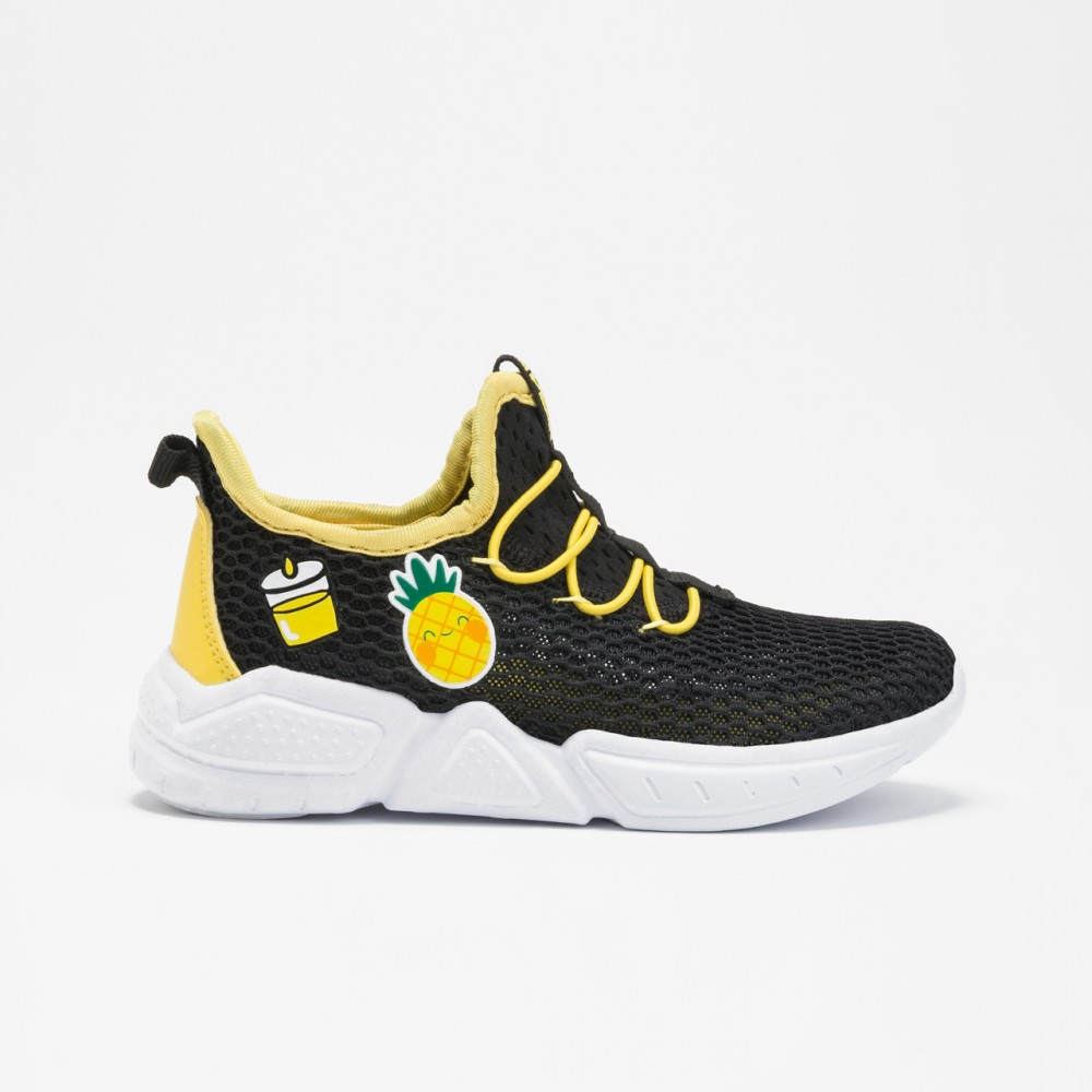 chaussure basket peak trancy noir jaune pour enfants